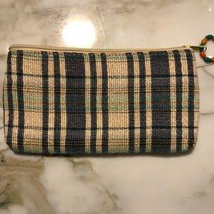 Handbags - Burlap plaid clutch with beaded zipper pull